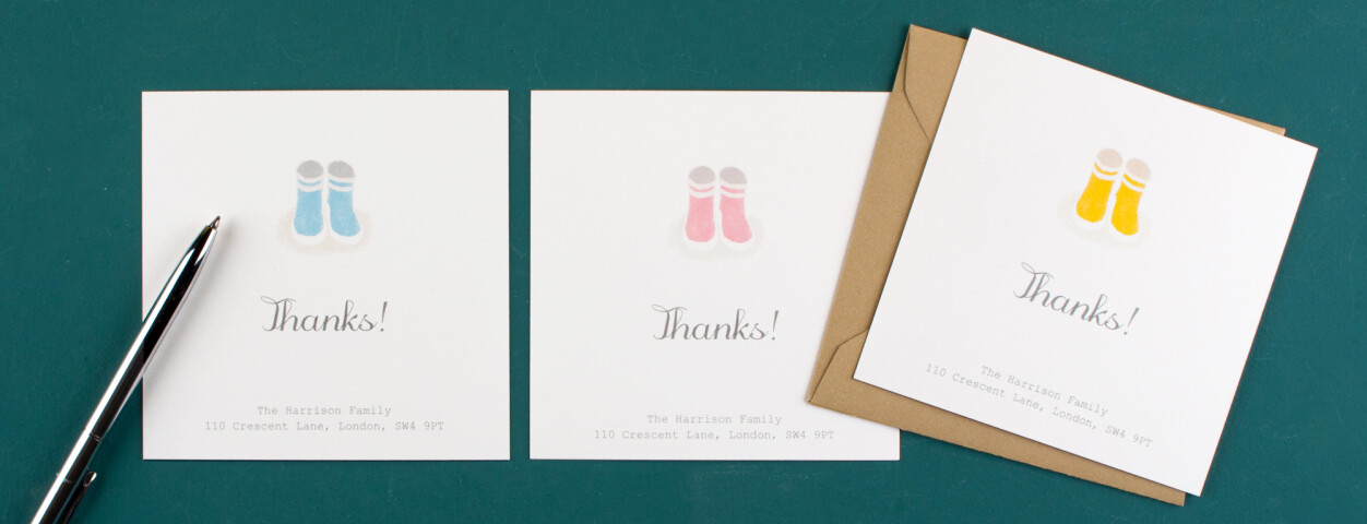 Personalised baby thank you cards