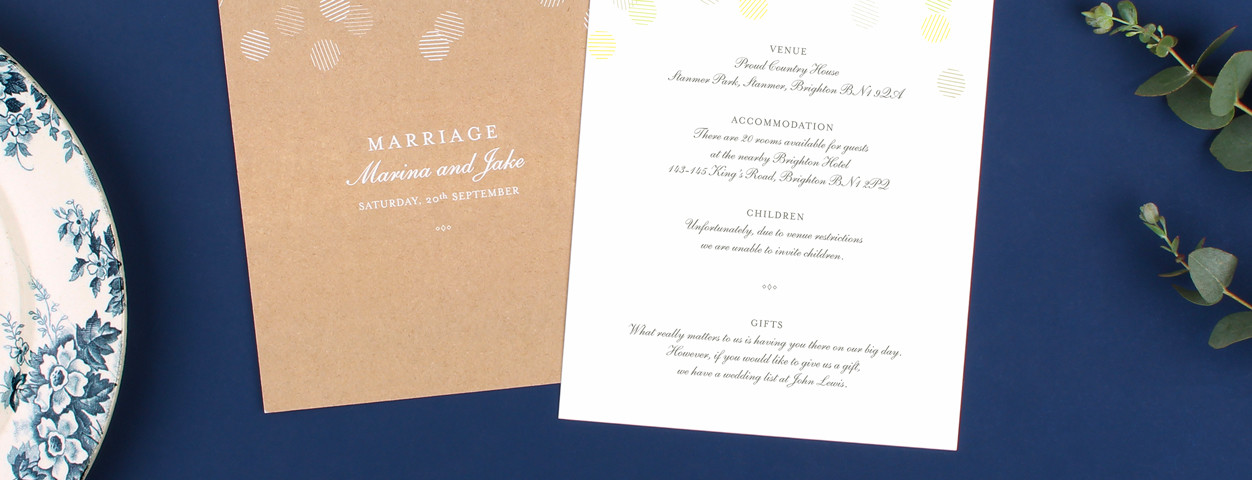 Wedding inserts guest information cards