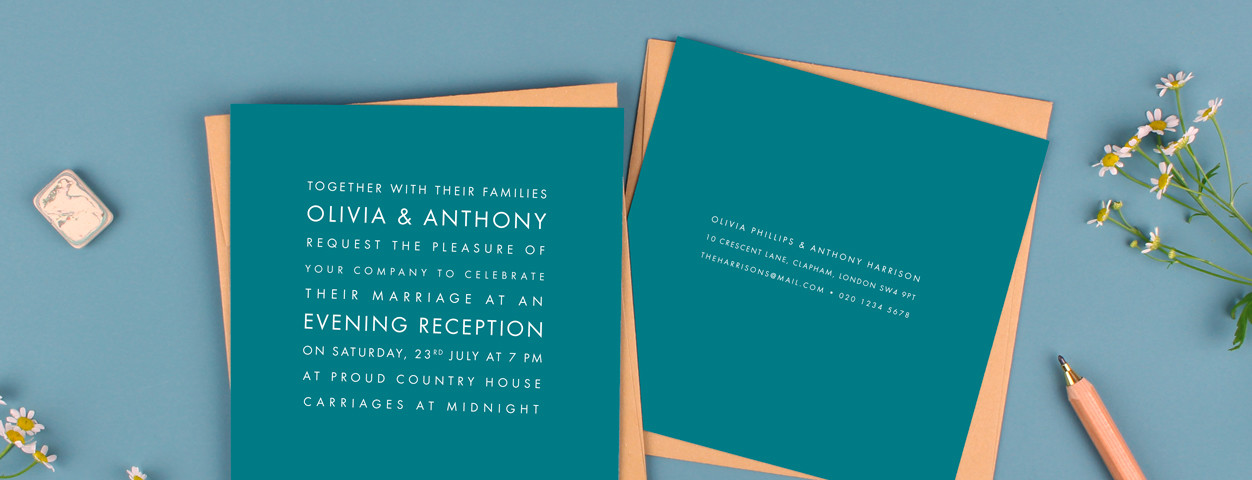 Modern evening wedding invitations