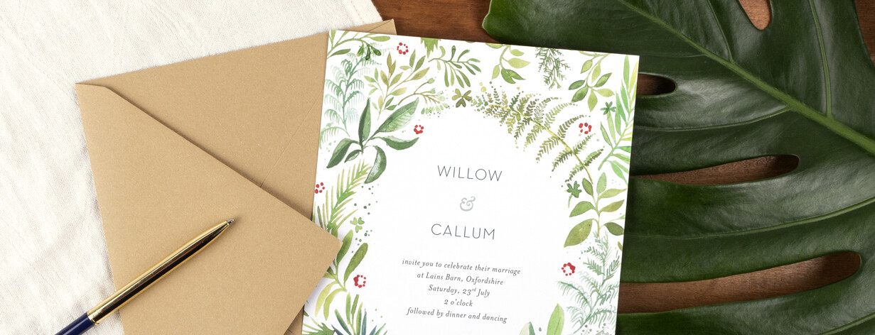 Forest whisper rustic wedding invitations