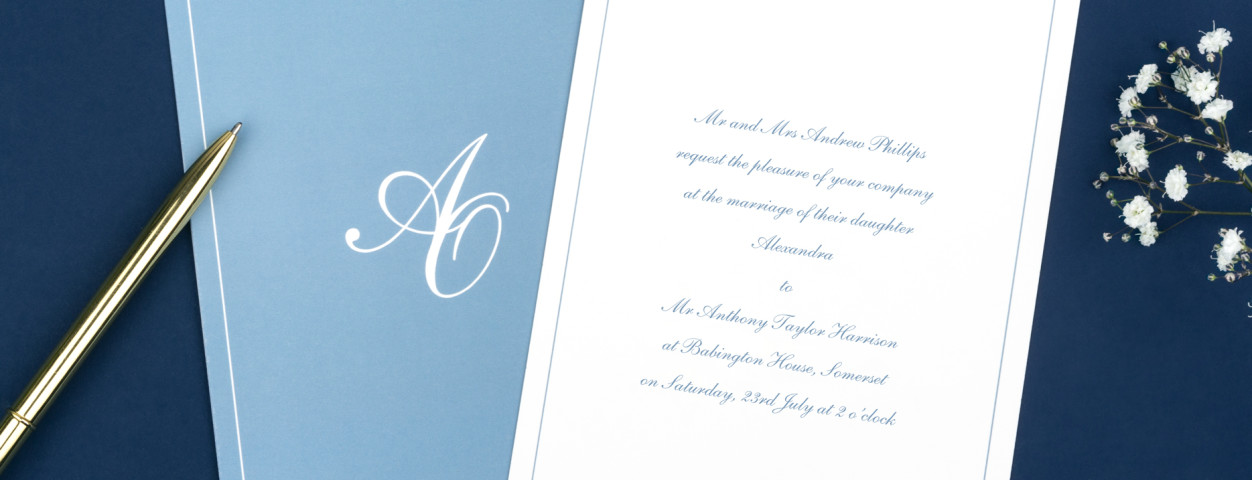 Chic border traditional wedding invitations