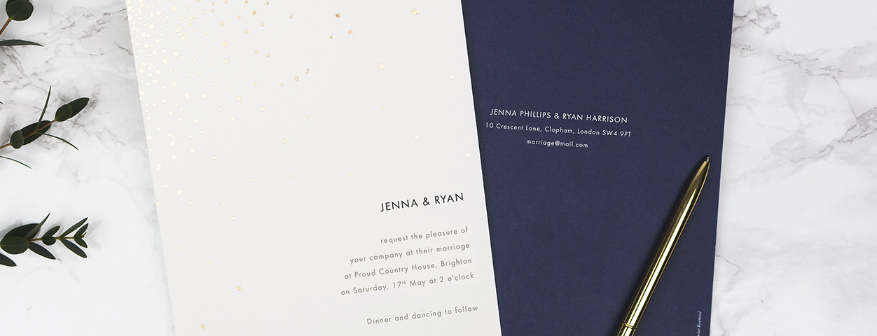 Sparks Fly foil wedding invitations